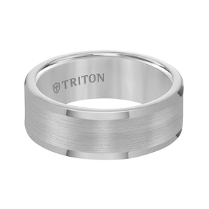 Triton Men's 8mm Grey Tungsten Carbide Comfort Fit Wedding Band