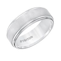 Triton Men's 8mm White Tungsten Satin Center Wedding Band