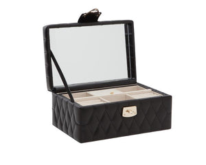 Wolf 1834 Small Black Quilted Leather Jewelry Box