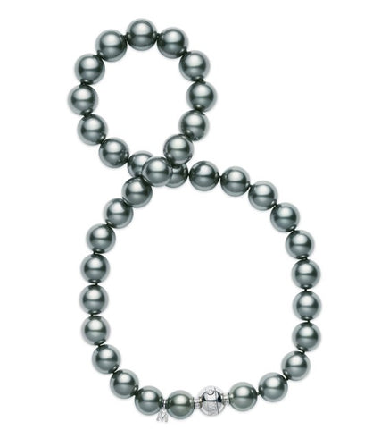 Mikimoto 10.9x8.2mm Black South Sea Pearl Strand with Diamond Accent Clasp