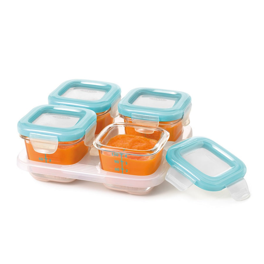 Glass Baby Blocks™ Freezer Storage Container Set - 4oz (Aqua)