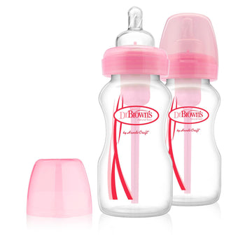 Options Wide Neck Baby Bottle 9oz/270ml - 2 Pack (Pink)