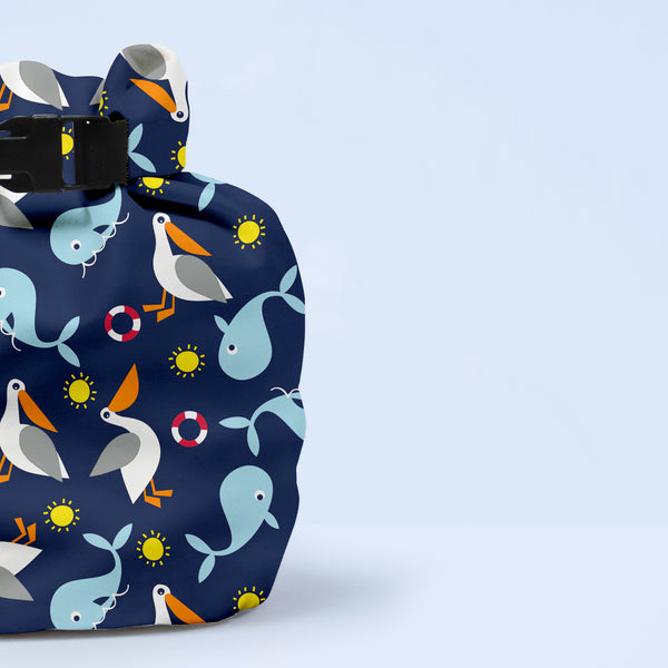 Bambino Mio Wet Nappy Bag One-handed Baby Changing Waterproof Cloth Bags Whales