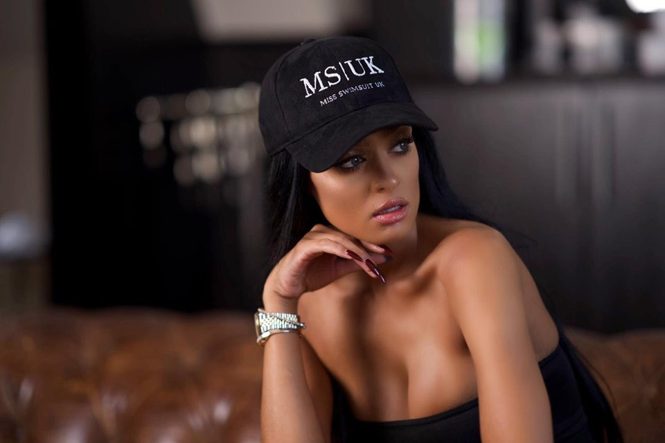 WHITE ON BLACK MISS SWIMSUIT UK CAP