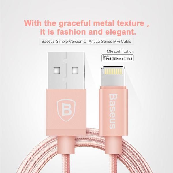 Baseus Simple Version of AntiLa Series MFI Metal Charging Cable 1.8M For Apple Black