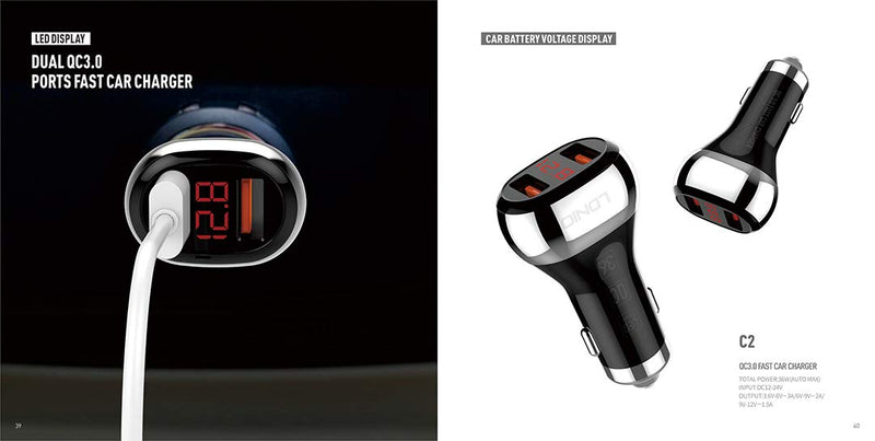LDNIO C2 2 Port 3.0 Car Charger with LED Car Battery Display