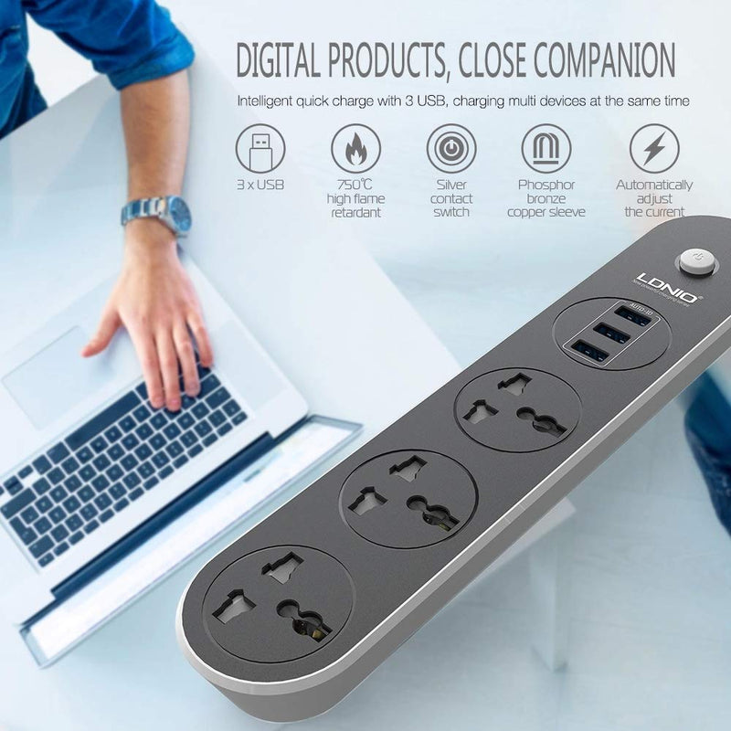 LDNIO SC3301 Power Strip Surge Protector with 3 Universal Power Socket