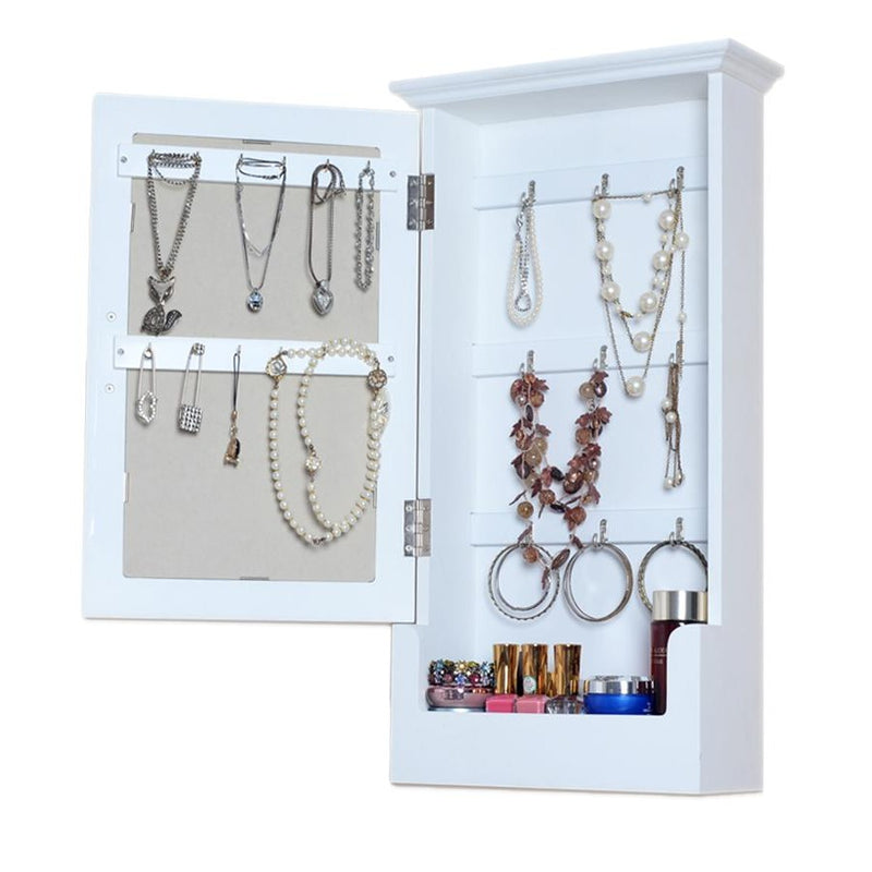 Wall Mounted Wooden Mirrored Jewelry Storage Cabinet