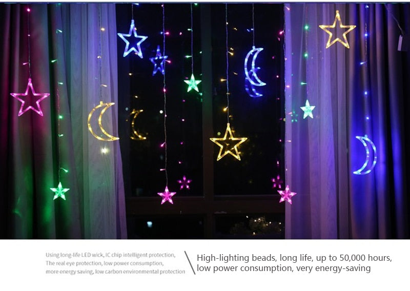 Strip Lights Five Pointed Star and Moon Warm