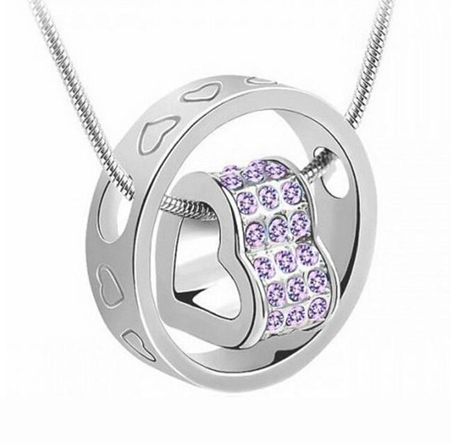 Precious Stones: White Gold Plated Heart Ring Gemstone Pendant Made With Swarovski Elements For R189.99 - iDealDirect - 2