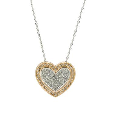 White And Rose Gold Plated Double Heart Pendant Necklace Made With Swarovski Elements