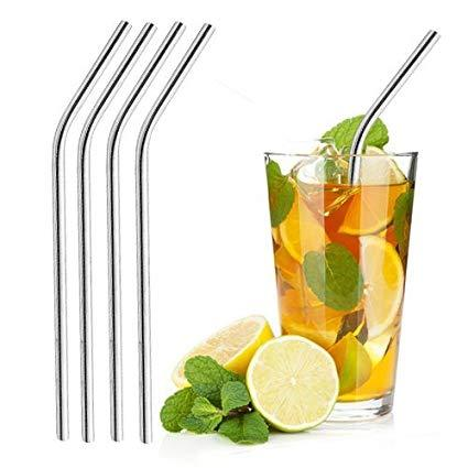 Pack of 8 Eco-Friendly Stainless Steel Reusable Drinking Straws