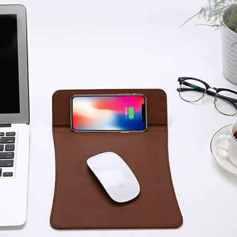 Mouse Pad with Wireless Charging - Brown