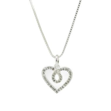 White Gold Plated Heart Pendant Made With  Swarovski  Elements