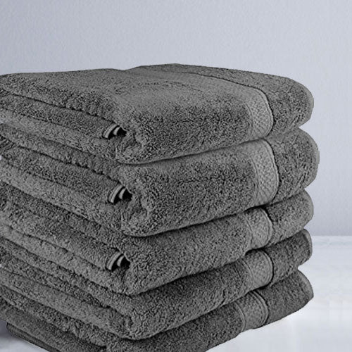Grey Bath Towels Buy 4 Get 1 Free PACK 70x130cm