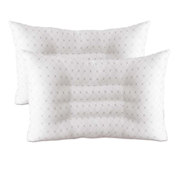 InstaSleep Contoured Comfort Pillow Set of 2 CONGRY White Grey Daisy