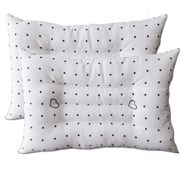 InstaSleep Contoured Comfort Pillow Set of 2 CONPOL White with black polkadot and heart