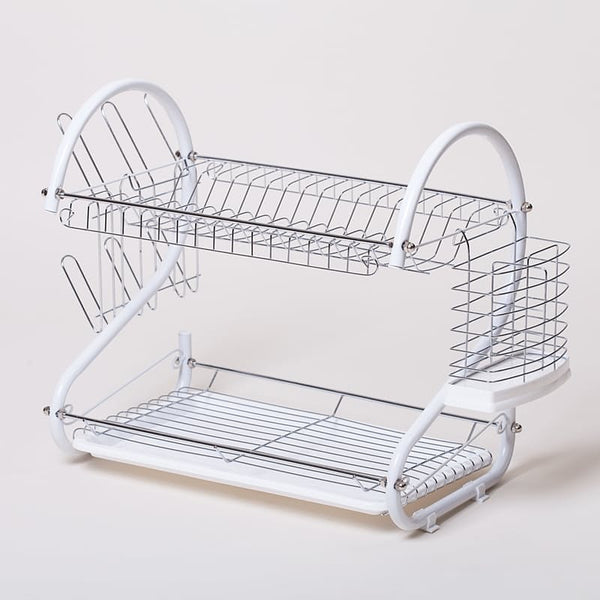 Two-Tier Dish Drainer - White