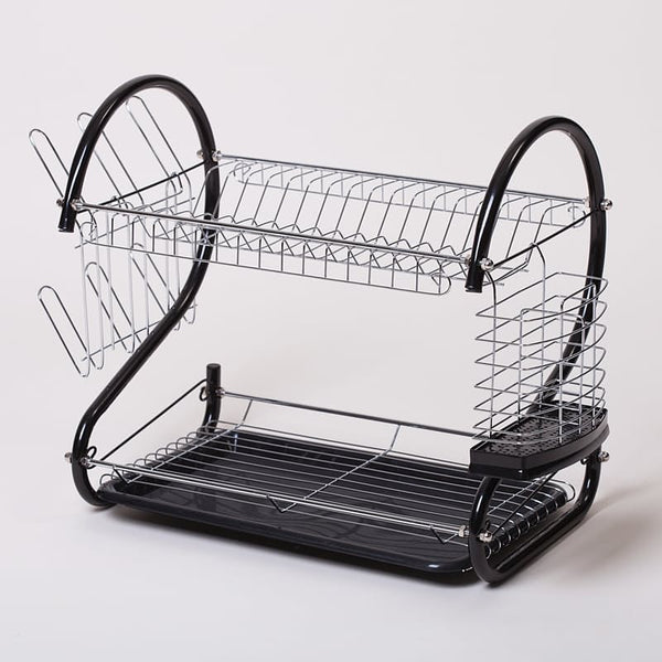 Two-Tier Dish Drainer - Black