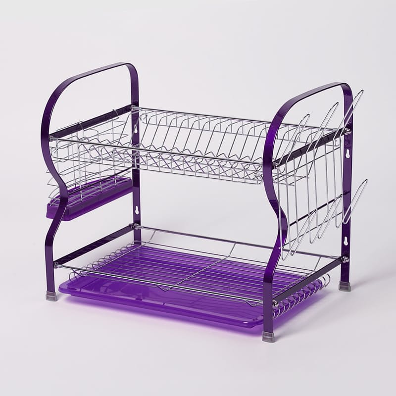 Two-Tier Dish Drainer - Purple