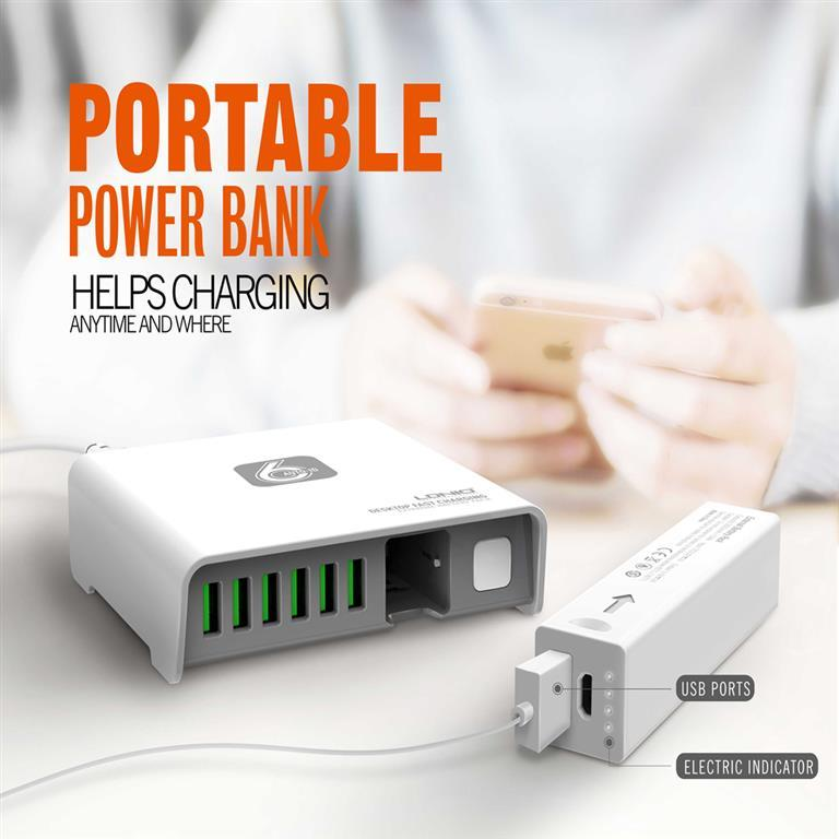 LDNIO A6802 - 6 port phone Charger With Small PowerBank - MultiPort Charger
