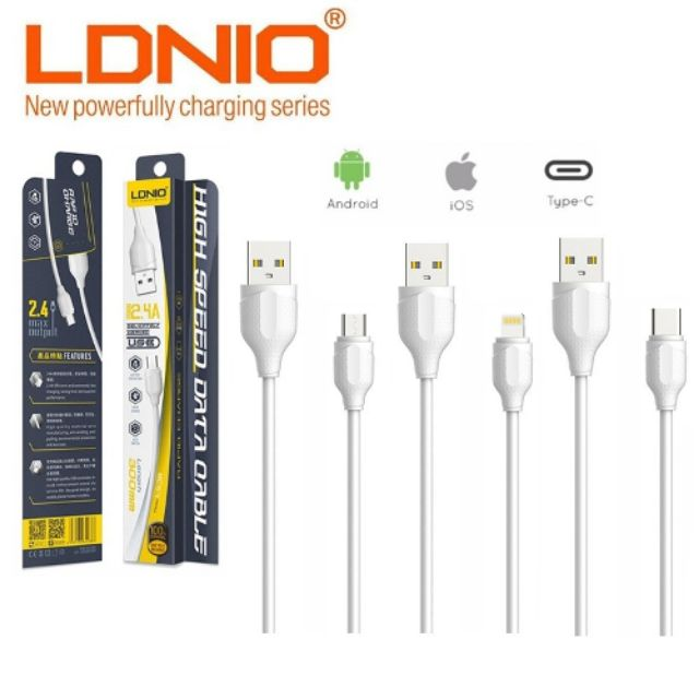 5 Pack LDNIO LS38 30cm 2.4A Rapid Charge Micro/iOS/Type C