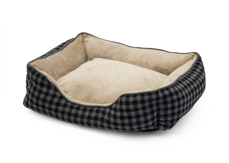 Rex - Foxly Dog Bed - Checkerboard Grey/Brown