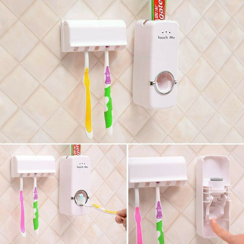 Wall Mounted Toothpaste Squeezer and Toothbrush Holder