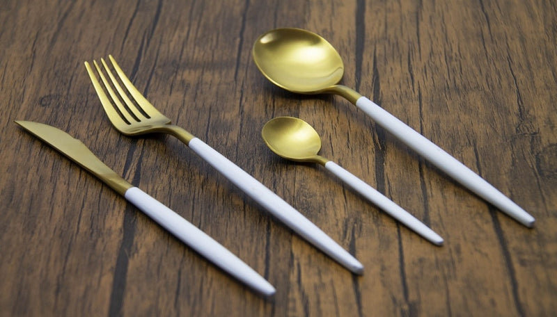 Finery - Cutlery Set 4pc - Gold/White