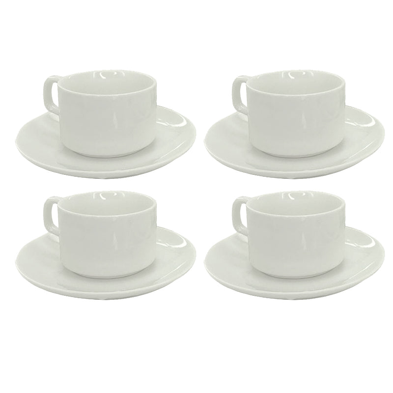 4 Cups and Saucers - White