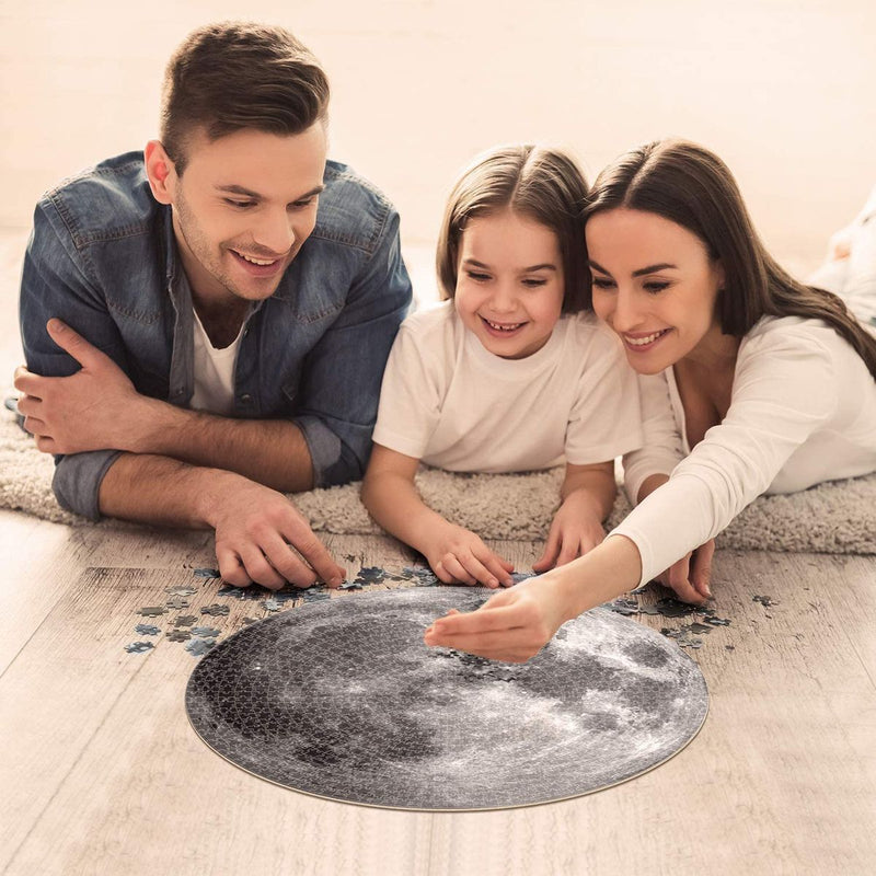 Moon Jigsaw Puzzle 500 Pieces, Round Full Moon Surface Puzzle