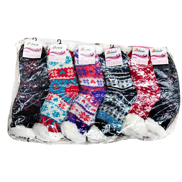 Pack of 6 Winter Woolen Socks - One Size Fits All