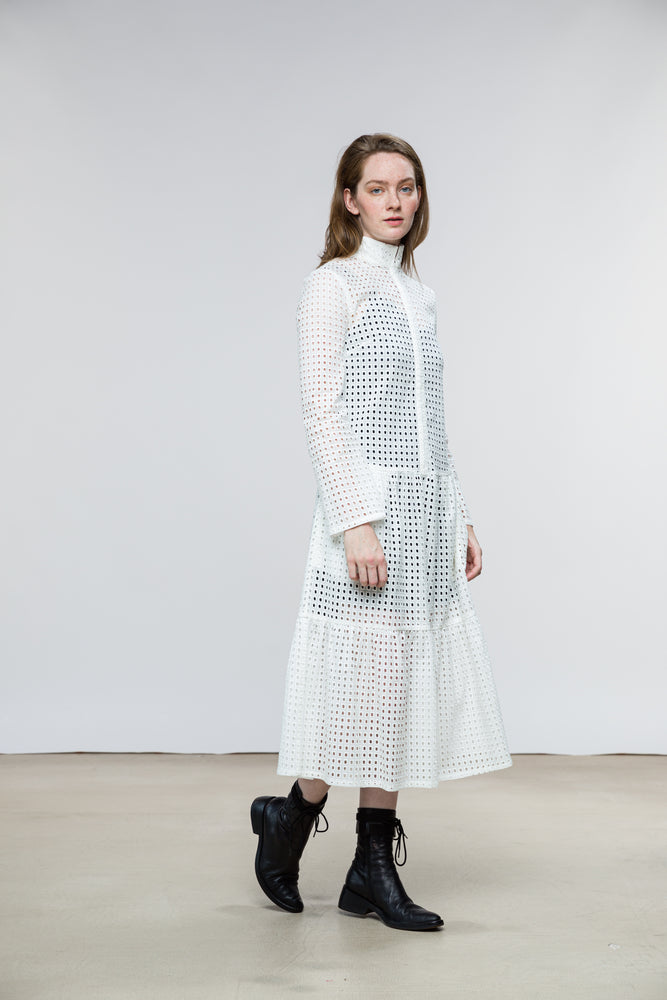Adri Dress / Vintage White Cotton Eyelet