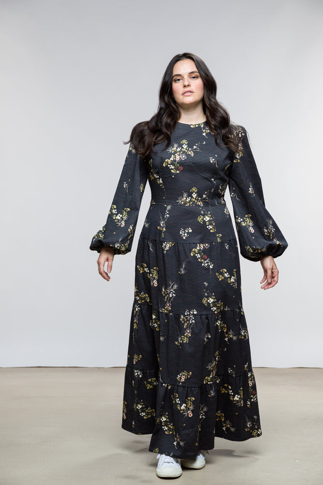 Ann Dress / Black Plum Floral Cotton