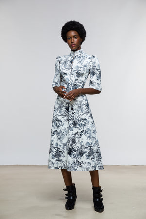 Esther Dress / Milk + Black Toile Cotton