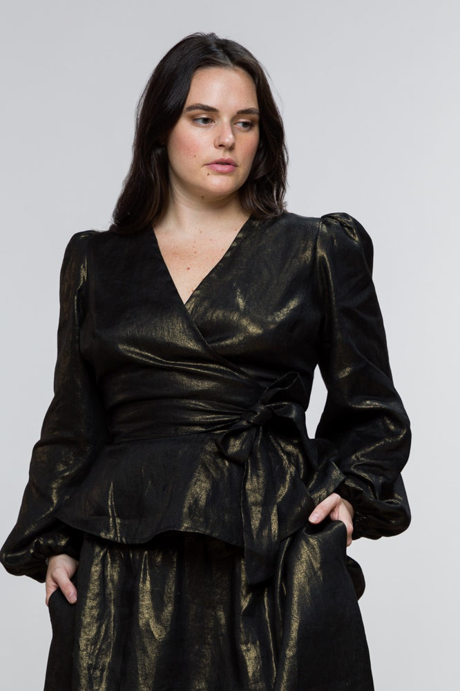 Lou Wrap Top / Gold on Black Linen