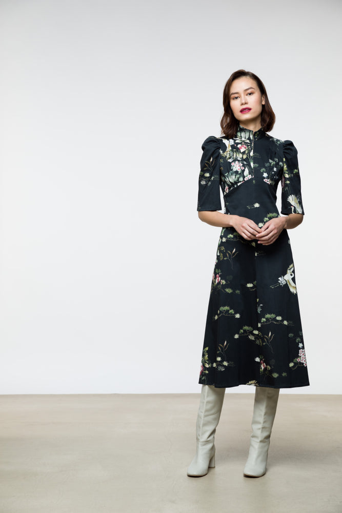 Esther Dress / Black Crane Floral Cotton