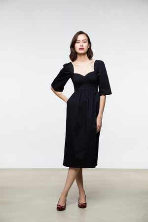 Suzan Dress / Black Cotton