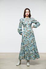 Ann Dress / Dusk Blue Floral Cotton