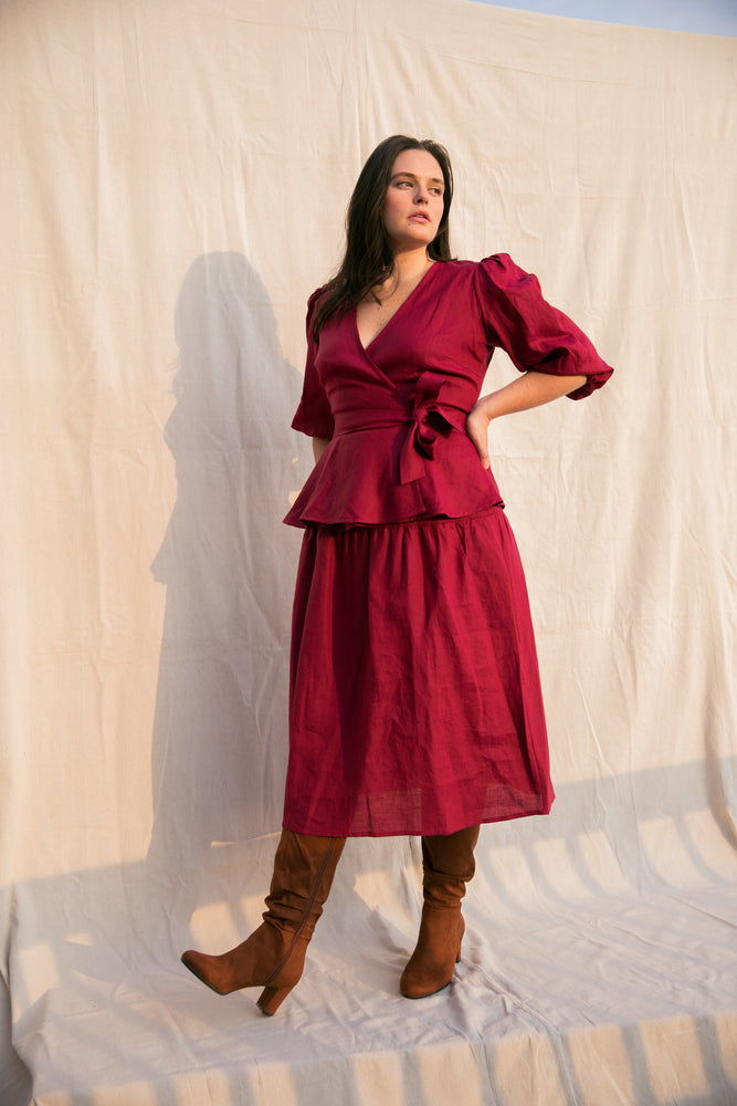 Ellen Wrap Top / Scarlet Red Linen