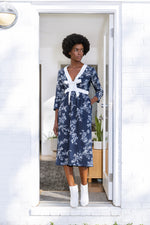 Carla Dress / Navy Floral Cotton