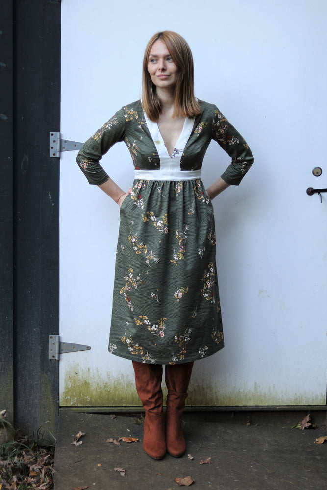 Carla Dress / Olive Floral Cotton