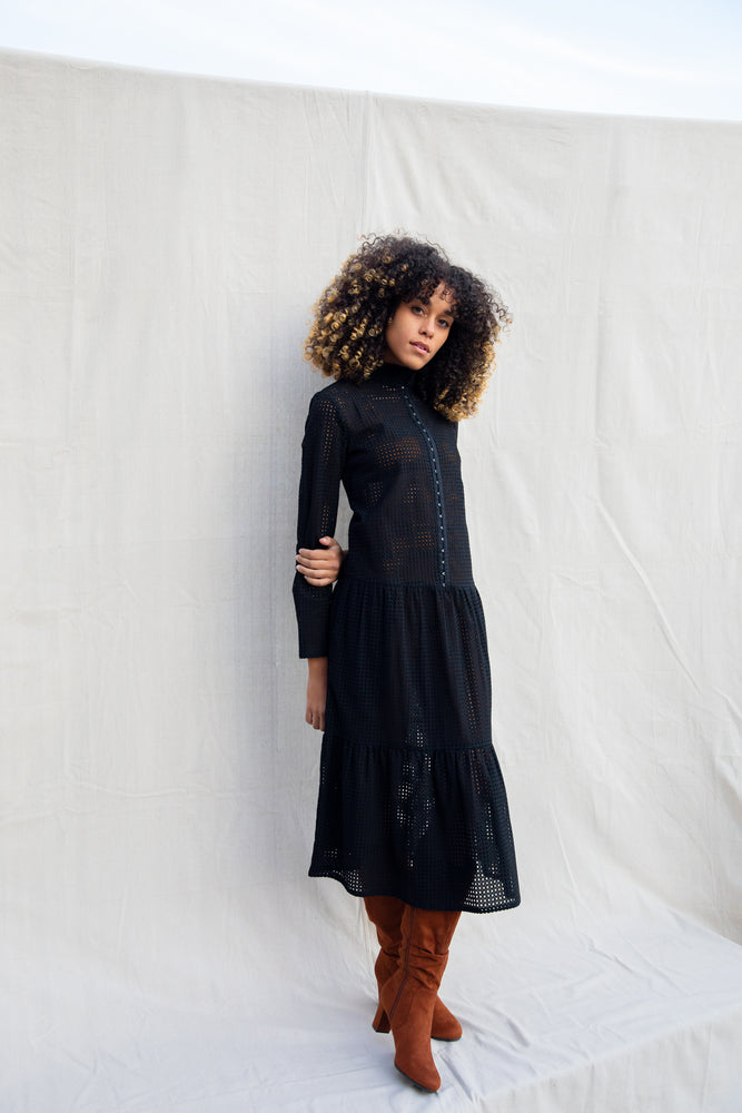 Adri Dress / Black Cotton Eyelet