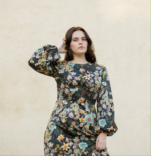 Ann Dress / Dark Forest Green Floral Cotton