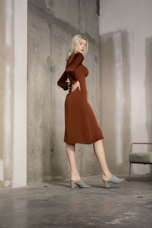 Nina Dress / Sugar Almond Brown Silk