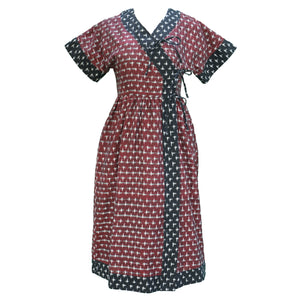 Sara Kimono Dress / Scarlet Red & Black Contrast Cotton