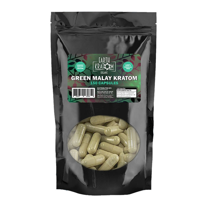 Earth Kratom - Capsule Green Malay 150ct