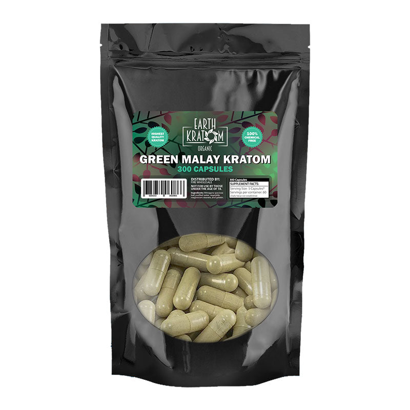 Earth Kratom - Capsule Green Malay 300ct