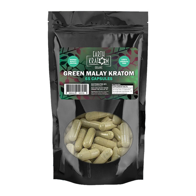 Earth Kratom - Capsule Green Malay 65ct