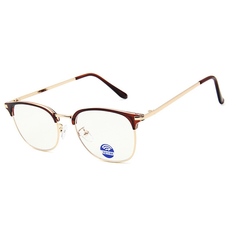 Alloy Semi-Rimless Rectangle Women Men Eyewear Frames